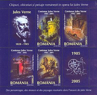 Jules Verne - Jules Verne novels: The Carpathian Castle, The Danube Pilot, Claudius Bombarnac and Kéraban the Inflexible. Miniature sheet, post of Romania 2005.