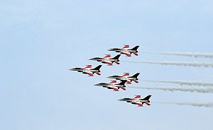Singapore Airshow - F-16Cs of RSAF Black Knights in formation flight during the inaugural show.