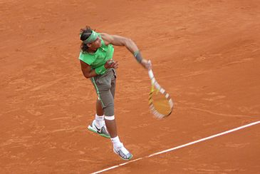 Rafael Nadal at the 2008 French Open. Nadal won eight titles in 2008 including two Grand Slam tournaments. He finished the year ranked No. 1 and was voted Player of the Year.