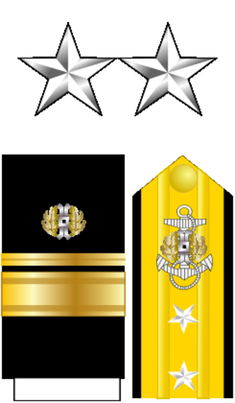 A. J. Chegwidden - The insignia worn by a Rear Admiral (two stars) in the Navy JAG Corps.