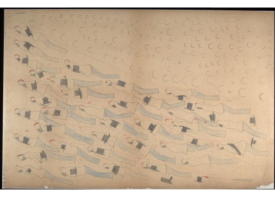 Red Horse pictographic account of the Battle of the Little Bighorn, 1881. 0500