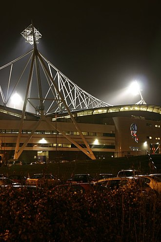 University of Bolton Stadium - View at night in February 2005