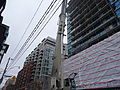 Removing the big boom crane from atop the almost finished reconstruction of the old National Hotel, 2015 03 07 (8) (16137410994).jpg