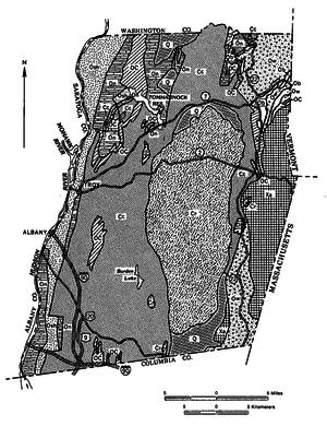 Rensselaer Plateau - Image: Rensselaer County bedrock geology