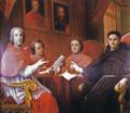 Ritratto di rappresentanza con Padre d'Evora, i cardinali Gentili, Corsini, Passeri (c. 1730) - Agostino Masucci (Biblioteca Nazionale Vittorio Emanuele II, Roma).png