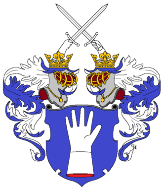 Alexius Meinong - Meinong von Handschuchsheim family arms, granted with the title of Ritter in 1851.