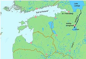Volkhov River - Image: River volkhov localization map