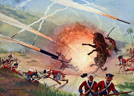 In the year 1780 the British began to annex the territories of the Sultanate of Mysore, during the Second Anglo-Mysore War. The British battalion was defeated during the Battle of Guntur, by the forces of Hyder Ali, who effectively utilized Mysorean rockets and rocket artillery against the closely massed British forces. Rocket warfare.jpg