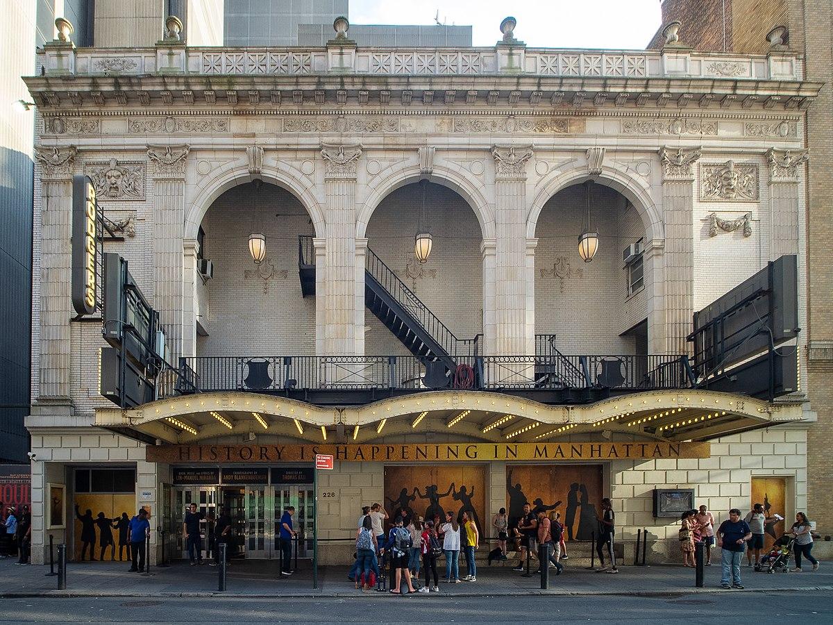 Entrada para el teatro Richard Rodgers. Hamilton Broadway.