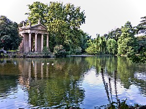"Villa Borghese gardens - The 18th century ""Temple of Aesculapius"" built purely as a landscape feature, influenced by the lake at Stourhead, Wiltshire, England."