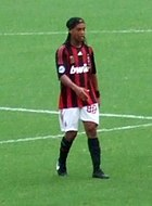 Ronaldinho playing for A.C. Milan
