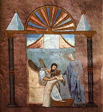 Rossano Gospels - Image: Rossano Gospels Folio 121r St Mark