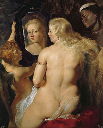 Rokeby Venus - Peter Paul Rubens' Venus at the Mirror, c. 1614–15, shows the goddess with her traditionally blond hair. As with Velázquez's Venus, the goddess's reflected image does not match that portion of her face visible on the canvas. In contrast to Rubens' luscious and 'rounded' ideal form, Velázquez painted a more slender female figure.