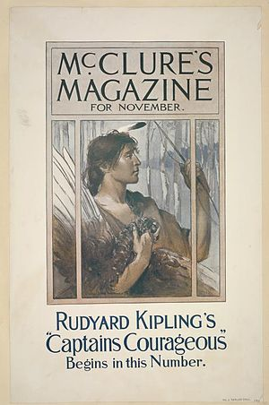 Captains Courageous - Cover of the November 1896 edition of McClure's, which began the serialisation of the novel.