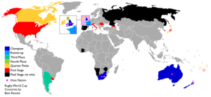 England at the Rugby World Cup - Map of the countries participating around the globe best results, excluding countries which unsuccessfully participated in qualifying tournaments.