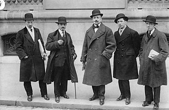 Futurism - Italian futurists Luigi Russolo, Carlo Carrà, Filippo Tommaso Marinetti, Umberto Boccioni and Gino Severini in front of Le Figaro, Paris, February 9, 1912