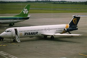 Dublin Airport - Two of the airport's largest operators side-by-side, a Ryanair BAC 1-11 (front) and an Aer Lingus Boeing 737 (rear) in 1993