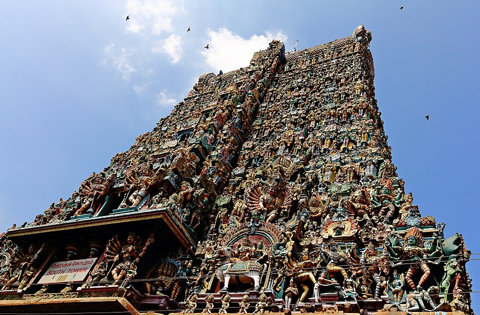 S-TN-34 Meenakshi Amman Temple South Gopuram enriched with delicate Stucco works