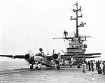 S2F-1 Trackers from VS-24 are launched from USS Valley Forge (CVS-45) in 1960.jpg