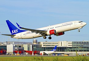 SAS Scandinavian Airlines Boeing 737-800 (LN-RRJ) taking off from Stockholm - Arlanda Airport.jpg