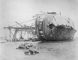 History of Samoa - SMS Adler wrecked at Apia (1889)