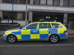 Battenburg markings - British police car with Battenburg visibility pattern.