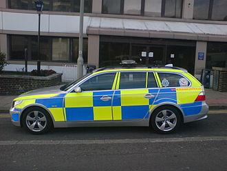 Battenburg markings - British police car with Battenburg visibility pattern.