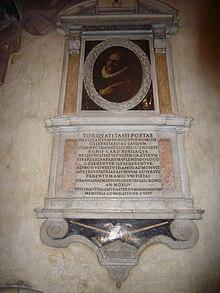 tomba di Torquato Tasso, con ritratto (1608)