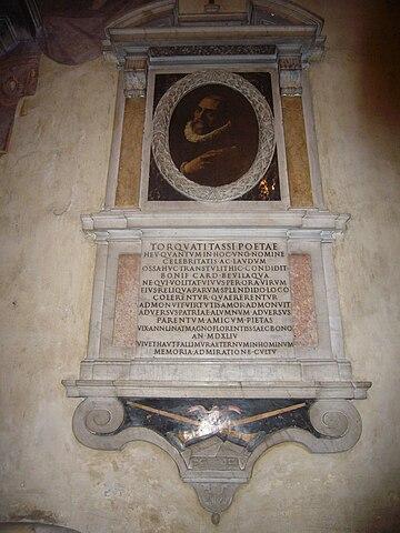 Надгробие Торквато Тассо в римской церкви Сант-Онофрио-аль-Джаниколо