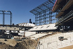 Safeco Field - Safeco Field under construction in 1998. The Kingdome is visible in the background.