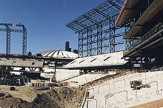 T-Mobile Park - T-Mobile Park under construction in 1998. The Kingdome is visible in the background.