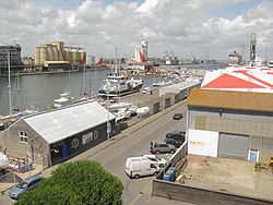 Saint-Nazaire Port view from Espadon submarine base.JPG