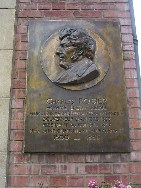 Saint Quentin, plaquette bij het geboortehuis van Charles Rogier, zie http://p.stquvermpicard.free.fr/charlesrogier.htm