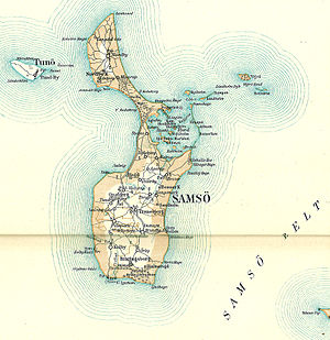 Samsø - An old map of Samsø, Denmark