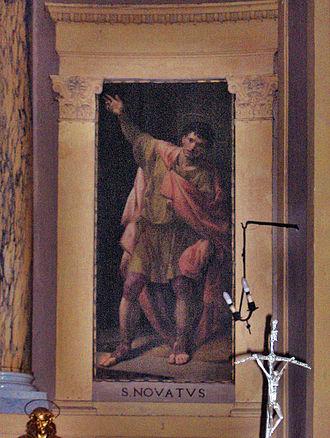 Novatus - St. Novatus by Bernardino Nocchi (1803), church of Santa Pudenziana, Rome, Italy