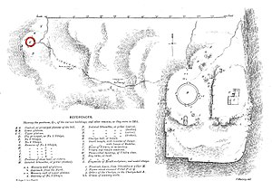 Sanchi Stupa No.2 - Map of Sanchi hill, with Stupa 2 at the extreme left, to the west.