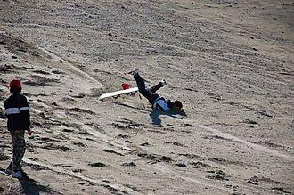 Bailing (boardsports) - caída en sandboard