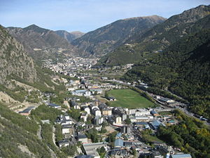 Santa Coloma d'Andorra - Santa Coloma and the Gran Valira river (right) as seen from a nearby mountain