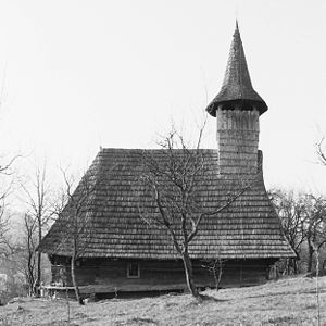 Vernacular architecture of the Carpathians - Sârbi Susani church, one of the Wooden Churches of Maramureş.