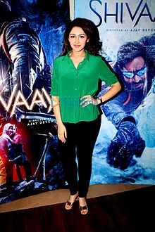 Sayyeshaa at Shivaay trailer launch.jpg