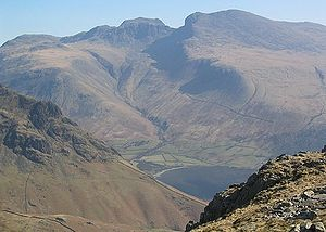 The impressive bulk of the Scafell massif, the highest ground in England, seen over the Wastwater valley