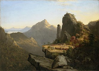 Thomas Cole - Image: Scene from the last of the mohicans cora kneeling at the feet of tanemund 1827