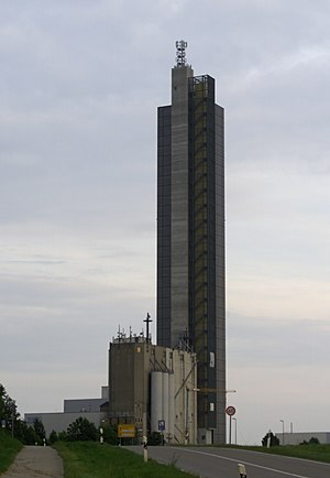 Schapfen Mill Tower - Northwest view of the silo.