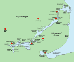 Schlei - Bilingual map of the Schlei (German and Danish placenames)