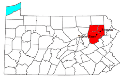 Map of Wyoming Valley, PA MSA Metropolitan Statistical Area
