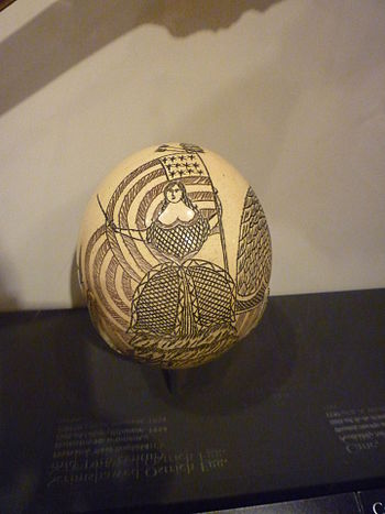 Scrimshawed ostrich egg. Probably New England,...
