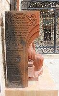 Sculpture of Patriarch Archbishop Nourhan Manougian and Armenian ston cross 02.jpg