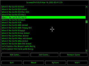 "ScummVM - GUI of ScummVM 0.8.0 with the ""Classic (builtin)"" skin"