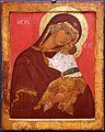 Scuola di novgorod, madre di dio della tenerezza, 1450 ca. (vicenza, palazzo leoni montanari).jpg