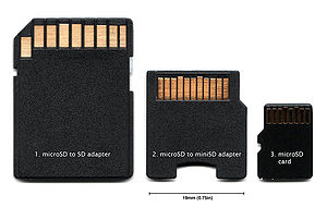 Secure Digital - MicroSD to SD adapter (left), microSD to miniSD adapter (middle), microSD card (right)